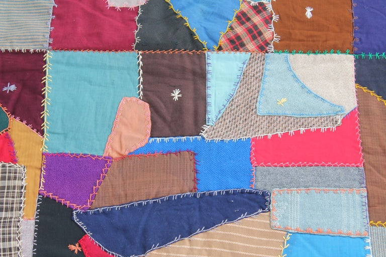 Hand-Crafted Antique Crazy Quilt For Sale