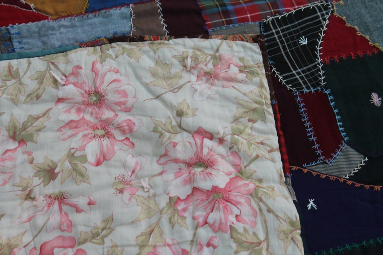 Wool Antique Crazy Quilt For Sale