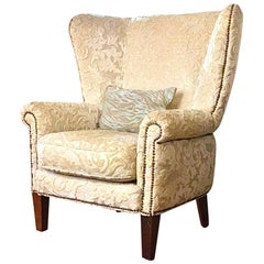 Antique Cream Beige Silk Velvet Wingback Armchair, Pile-on-Pile Damask Nailhead