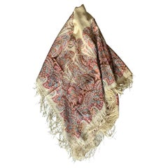 Antique Cream, Pink, Magenta, Brown and Green Paisley Shawl