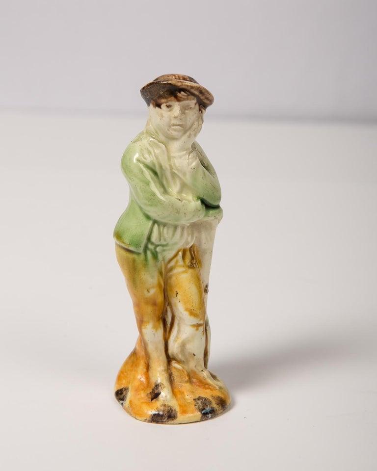 English Antique Creamware Figure of a Boy Colonial Williamsburg's Collection circa 1780 For Sale