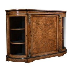 Antique Credenza, English, Burr Walnut, Sideboard, Display Cabinet, Regency