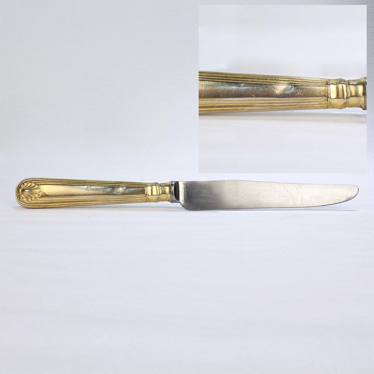 Antique Crested English  Mappin & Webb Gold-Plated Luncheon Flatware Set  For Sale 9