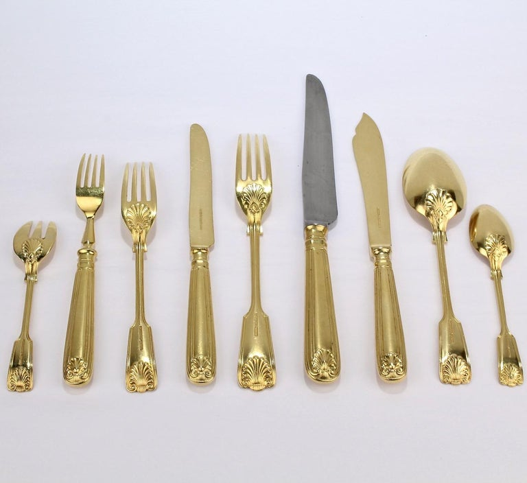 Antique Crested English  Mappin & Webb Gold-Plated Luncheon Flatware Set  For Sale 2
