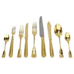 Gilt Metal Dinnerware and Flatware Sets