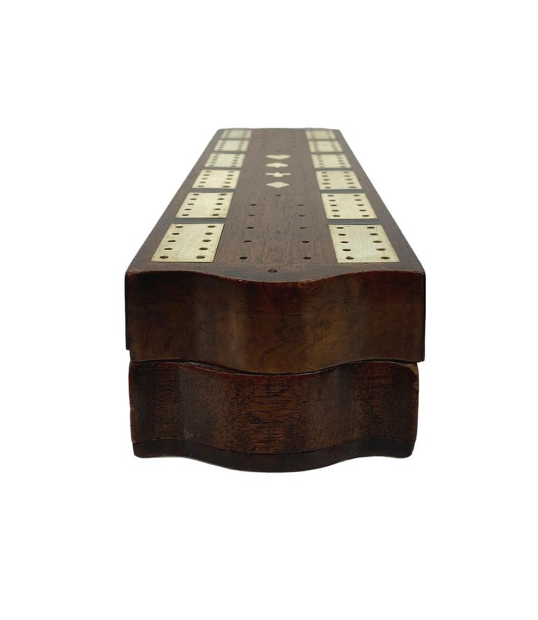 Hand-Crafted Antique Cribbage Board and Box in Mahogany with Exotic Inlays English circa 1880 For Sale