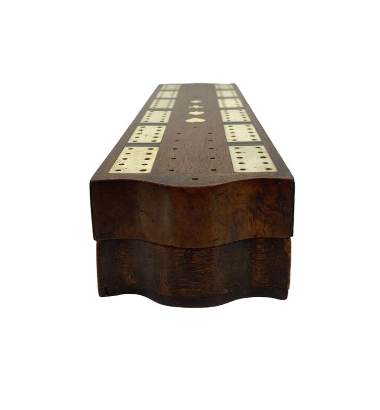 Antique Cribbage Board and Box in Mahogany with Exotic Inlays English circa 1880 In Good Condition For Sale In Banner Elk, NC
