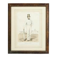 Antique Cricket Print of Joseph Guy of Nottingham