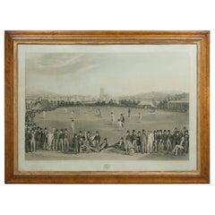 Antique Cricket Print, The Cricket Match, Sussex & Kent, Brighton