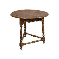 Antique Cricket Table, English, Oak, Drop Leaf, Lamp, Occasional, Edwardian