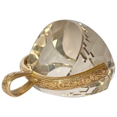 Antique Crystal and 9 Carat Gold Swivel Fob
