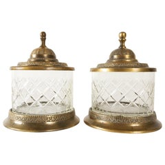 Antique Crystal and Bronze Jars 19th Century Set of 2
