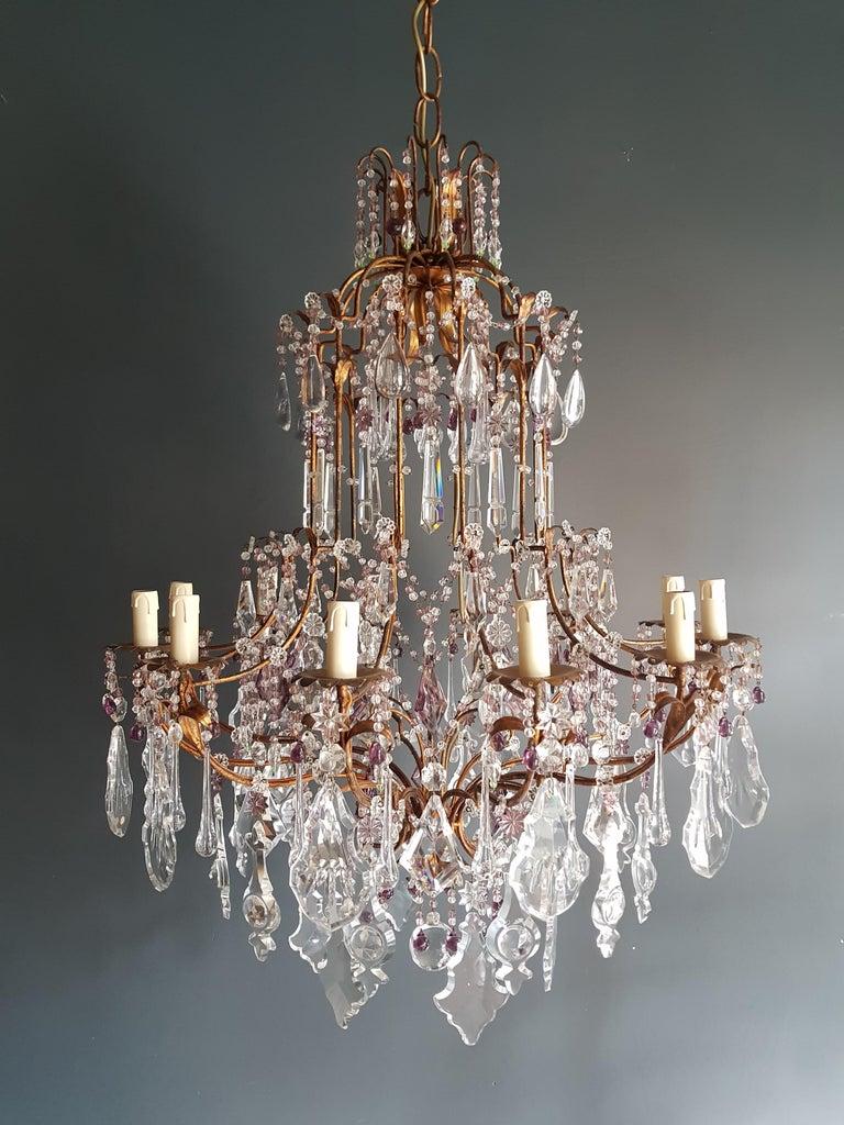 Antique Crystal Chandelier Ceiling Lamp Murano Florentiner Lustre Art Nouveau 4