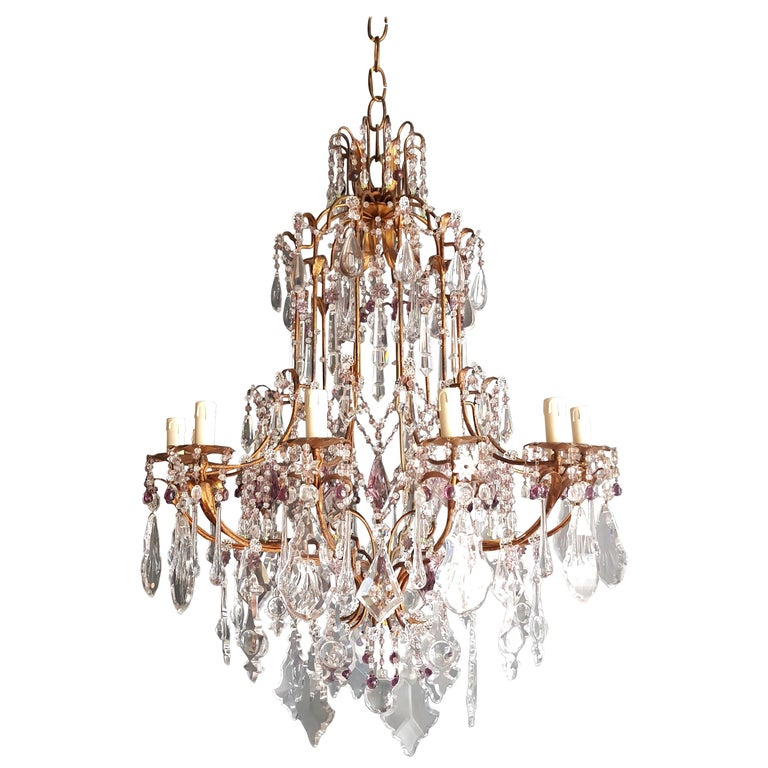 Crystal chandelier antique ceiling lamp Murano Florentiner lustre Art Nouveau.  Measures: Total height 140 cm, height without chain 105 cm, diameter 80 cm. Weight (approximately): 28kg.  Number of lights: Twelve-light bulb sockets: eight x E14