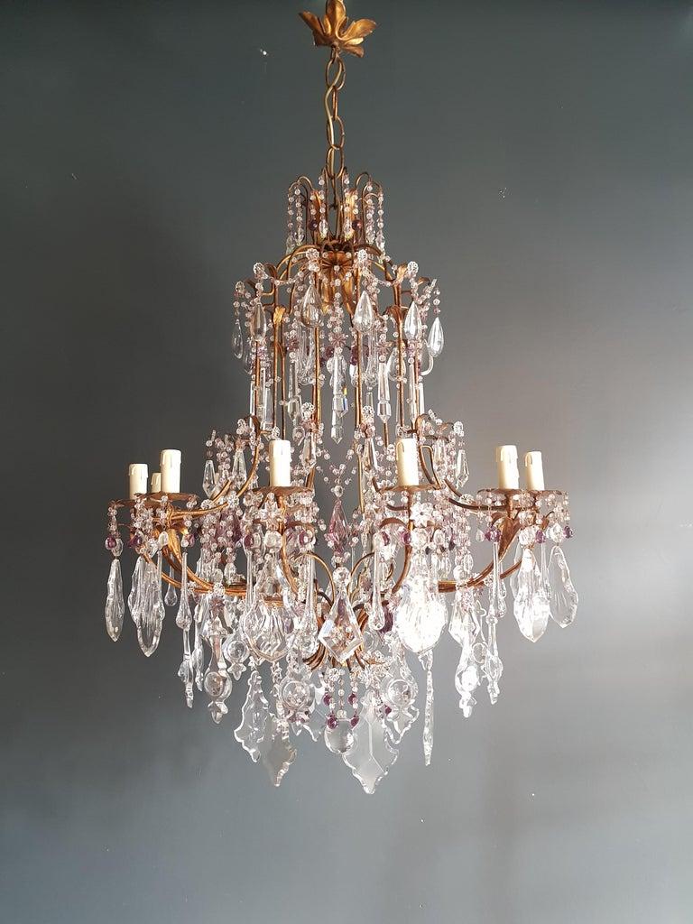 Italian Antique Crystal Chandelier Ceiling Lamp Murano Florentiner Lustre Art Nouveau