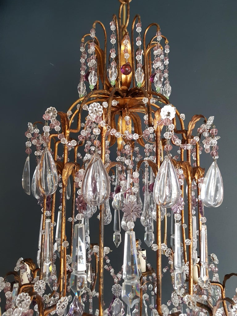 Antique Crystal Chandelier Ceiling Lamp Murano Florentiner Lustre Art Nouveau In Good Condition In Berlin, DE