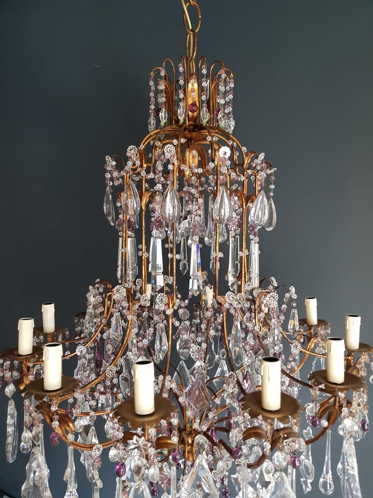 Early 20th Century Antique Crystal Chandelier Ceiling Lamp Murano Florentiner Lustre Art Nouveau
