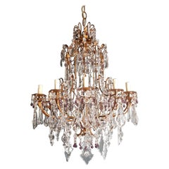 Antique Crystal Chandelier Ceiling Lamp Murano Florentiner Lustre Art Nouveau