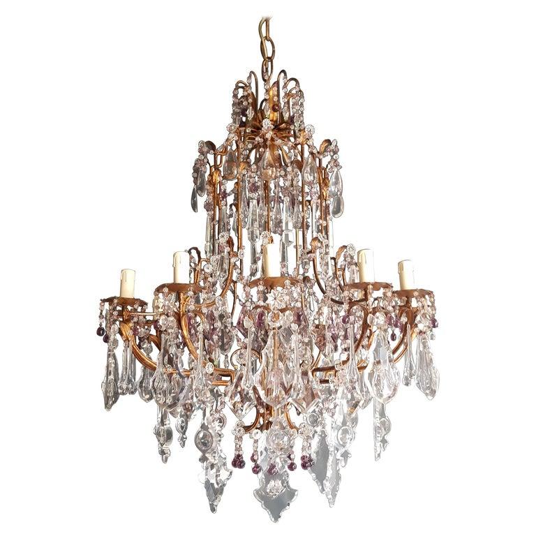 Antique Crystal Chandelier Ceiling Lamp Murano Florentiner Lustre Art Nouveau
