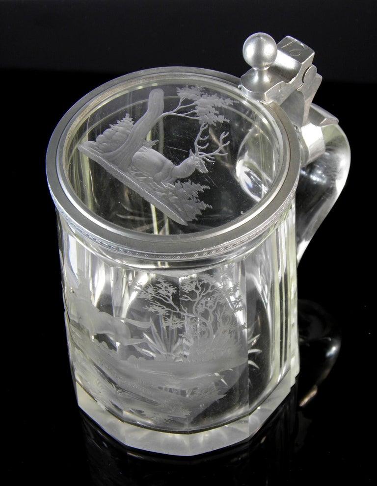 Antique Crystal Glass Goblet Hunting Motive Rider on Horseback, 19th Century 5