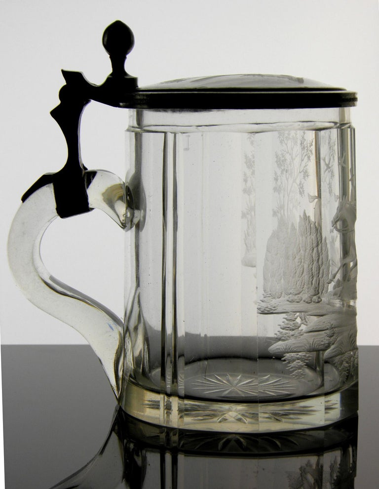 Bohemian Antique Crystal Glass Goblet Hunting Motive Rider on Horseback, 19th Century