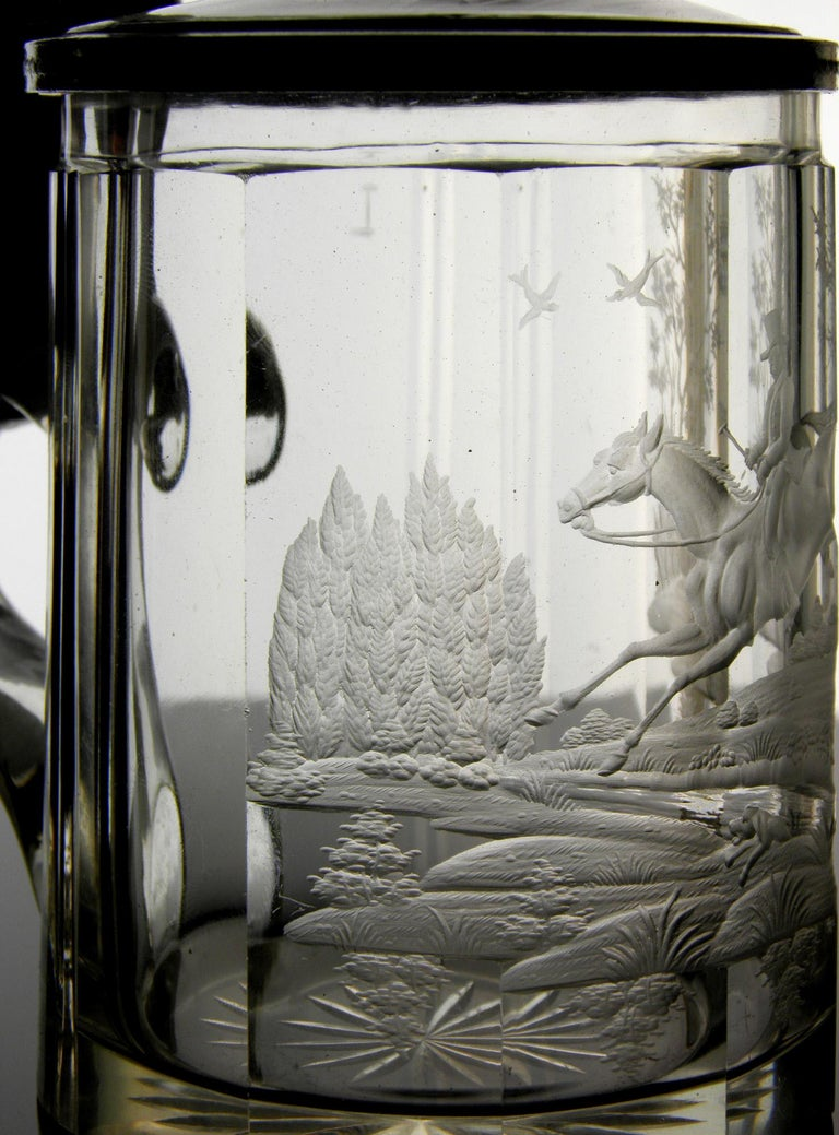 Antique Crystal Glass Goblet Hunting Motive Rider on Horseback, 19th Century In Good Condition In Nový Bor, CZ