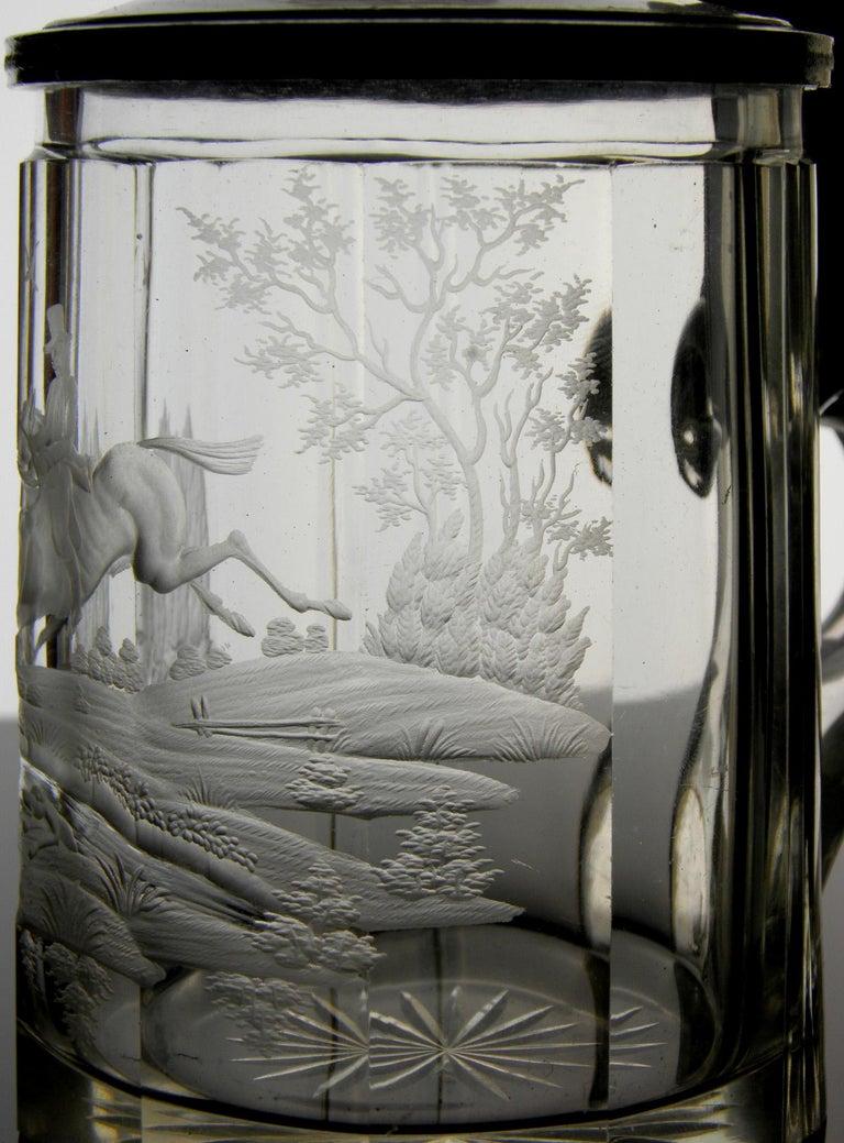 Antique Crystal Glass Goblet Hunting Motive Rider on Horseback, 19th Century 2