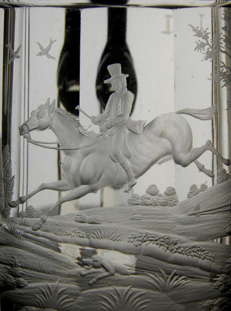 Antique Crystal Glass Goblet Hunting Motive Rider on Horseback, 19th Century 3