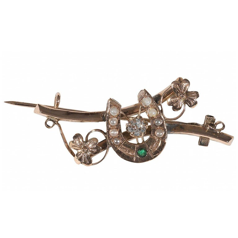 Victorian Antique Crystal Tourmaline Pearl Gold Horseshoe Brooch For Sale