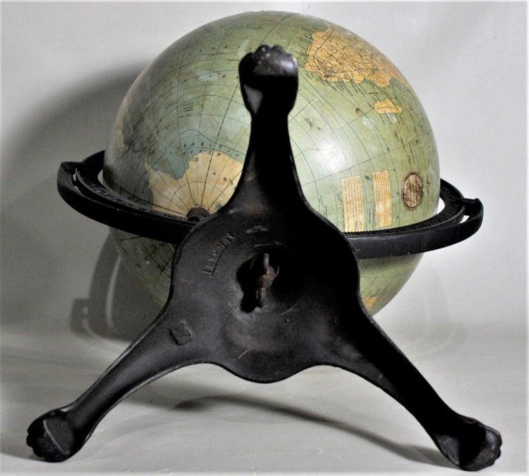 Antique C.S. Hammonds Terrestrial Desk Globe with Cast Iron Base & Frame For Sale 4