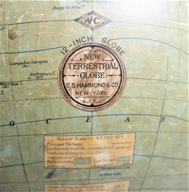 Antique C.S. Hammonds Terrestrial Desk Globe with Cast Iron Base & Frame For Sale 5