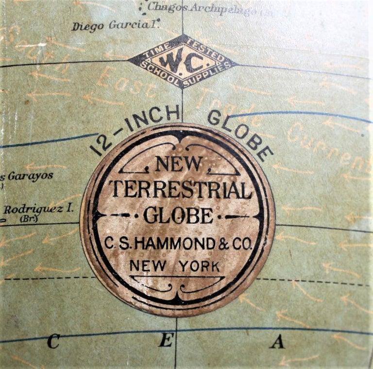 Antique C.S. Hammonds Terrestrial Desk Globe with Cast Iron Base & Frame For Sale 6