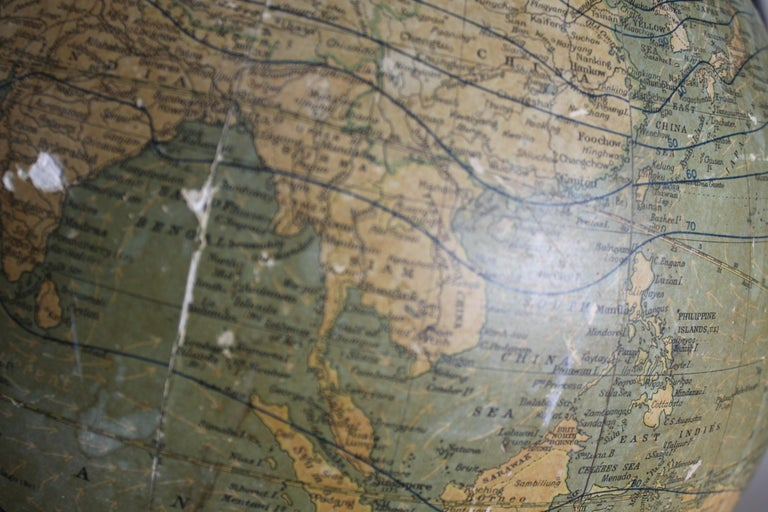 Antique C.S. Hammonds Terrestrial Desk Globe with Cast Iron Base & Frame For Sale 8