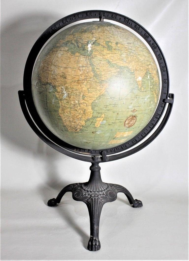 Art Deco Antique C.S. Hammonds Terrestrial Desk Globe with Cast Iron Base & Frame For Sale