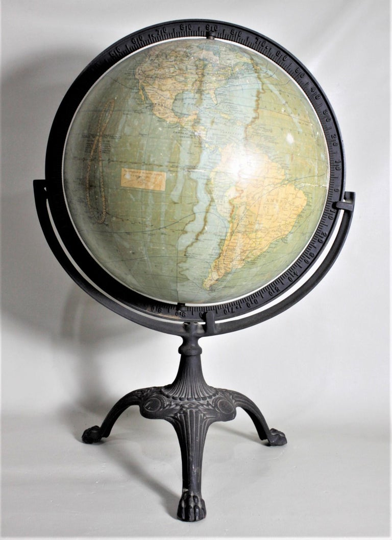 American Antique C.S. Hammonds Terrestrial Desk Globe with Cast Iron Base & Frame For Sale