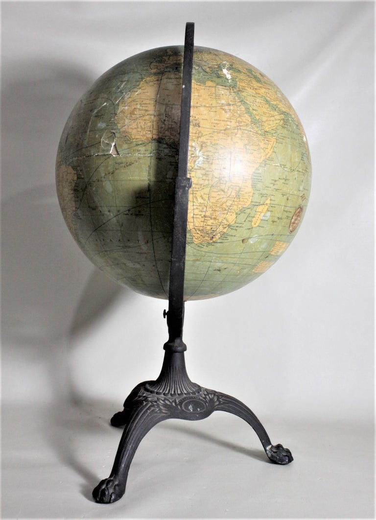 Antique C.S. Hammonds Terrestrial Desk Globe with Cast Iron Base & Frame In Good Condition For Sale In Hamilton, Ontario