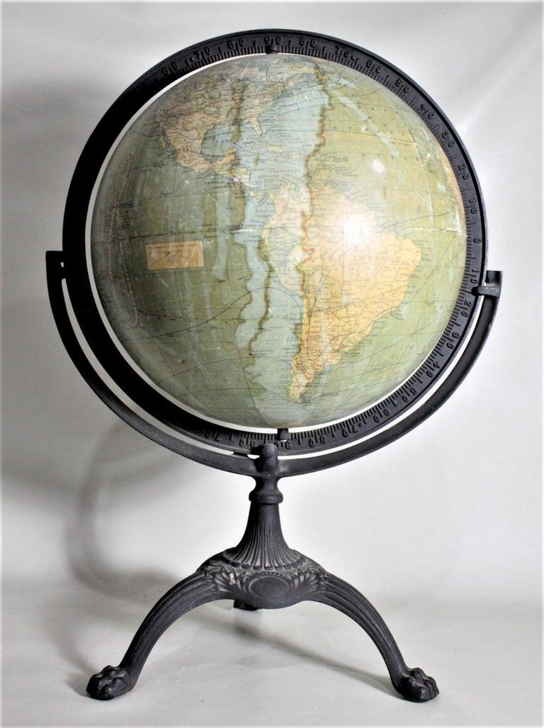 20th Century Antique C.S. Hammonds Terrestrial Desk Globe with Cast Iron Base & Frame For Sale