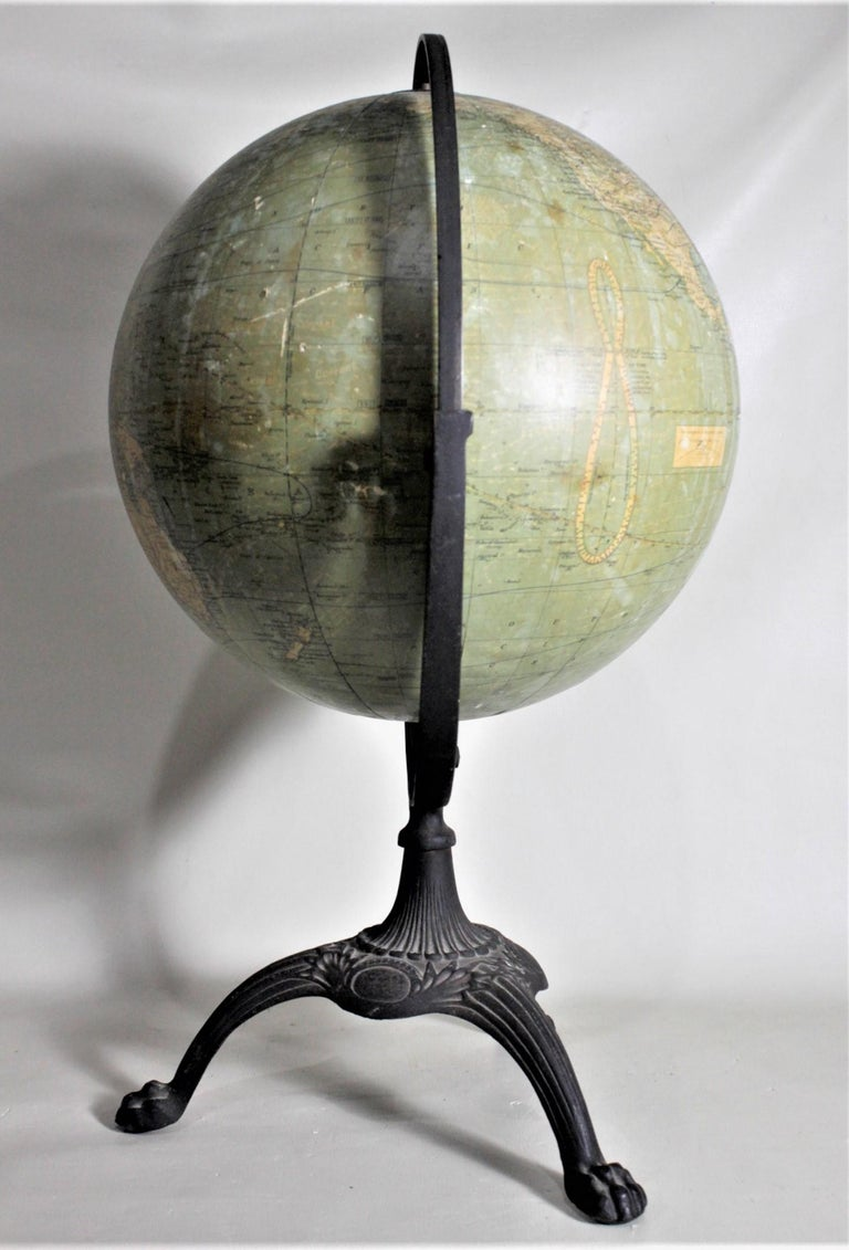 Antique C.S. Hammonds Terrestrial Desk Globe with Cast Iron Base & Frame For Sale 1