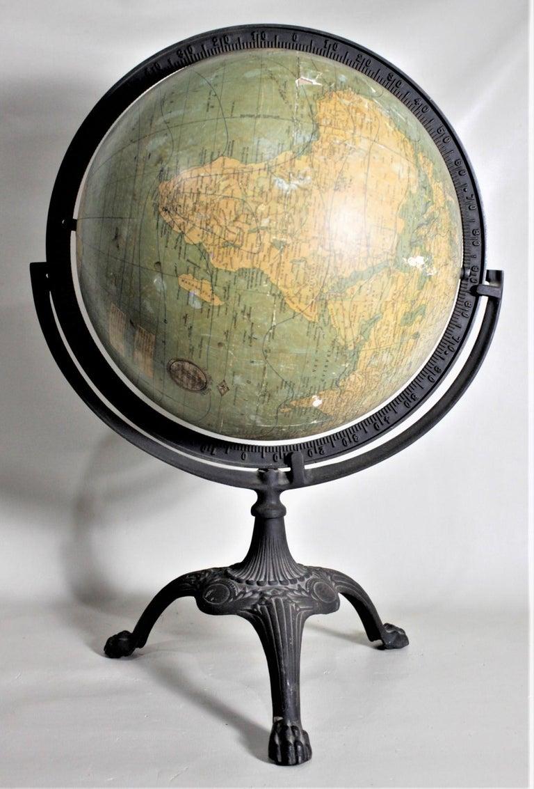 Antique C.S. Hammonds Terrestrial Desk Globe with Cast Iron Base & Frame For Sale 2