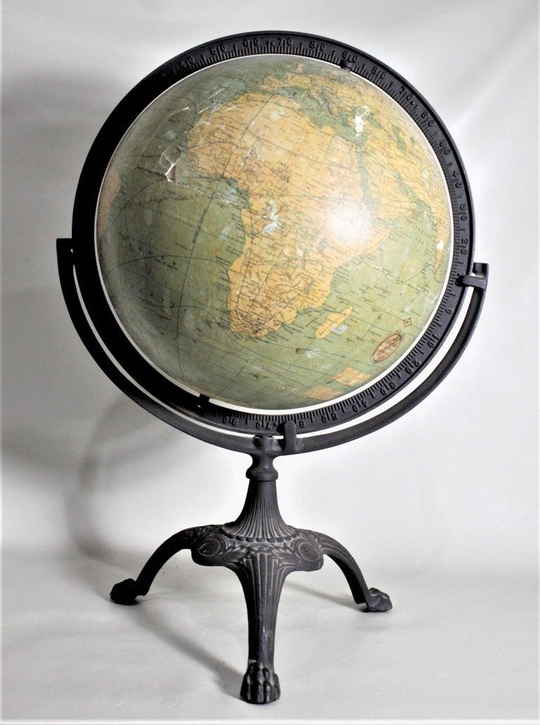 Antique C.S. Hammonds Terrestrial Desk Globe with Cast Iron Base & Frame For Sale 3
