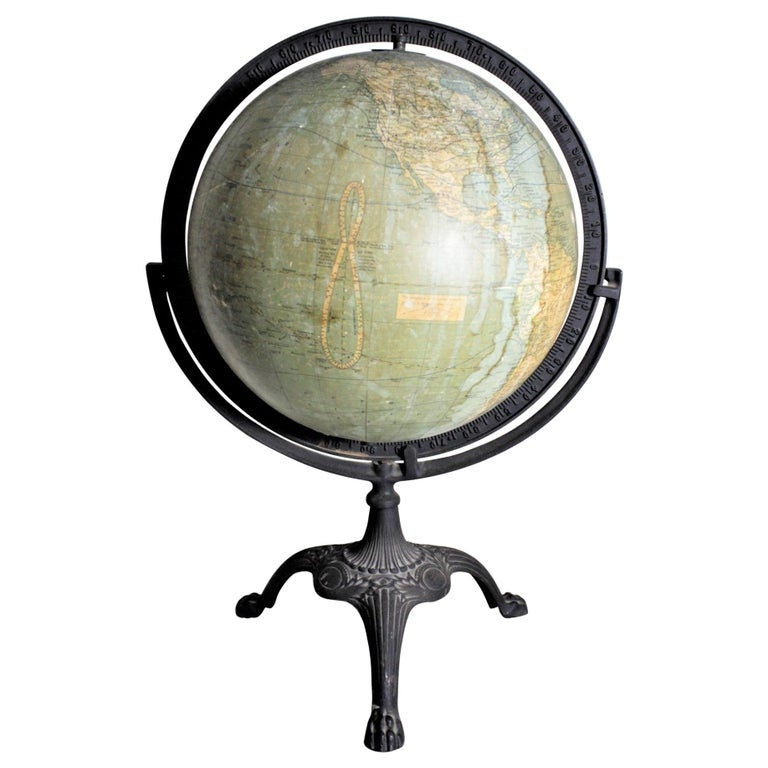 Antique C.S. Hammonds Terrestrial Desk Globe with Cast Iron Base & Frame For Sale