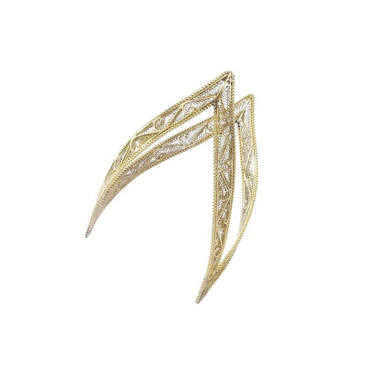 Antique Cuff Bracelet Yellow Gold For Sale