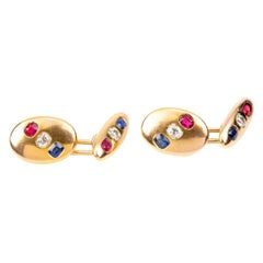 Antique Cufflinks in 18 Carat Gold with Diamond, Ruby & Sapphire, English, 1900