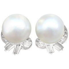 Antique Cultured Pearl 1.10 Carat Diamond Platinum Clip-On Earrings