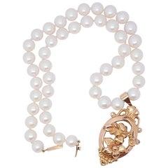 Antique Cultured Pearl Necklace 18 Karat Gold Clasp