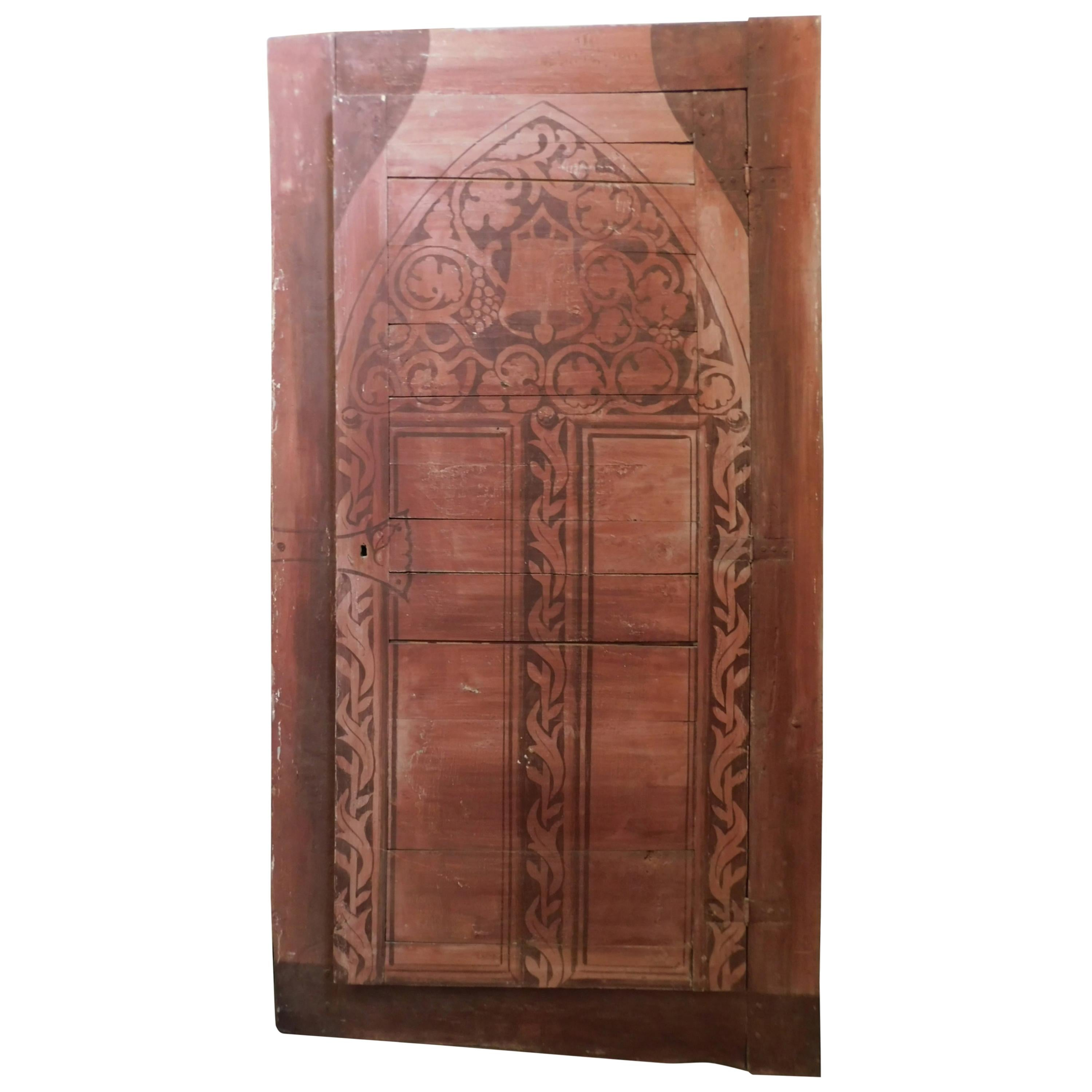 Antique Cupboard Wall Placard Door in Painted Red Wood, Italy, 1800