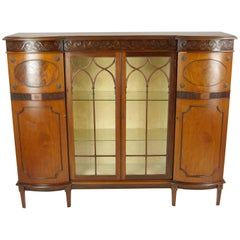 Antique Curio Cabinet, China Cabinet, Four-Door Cabinet, Walnut, 1900