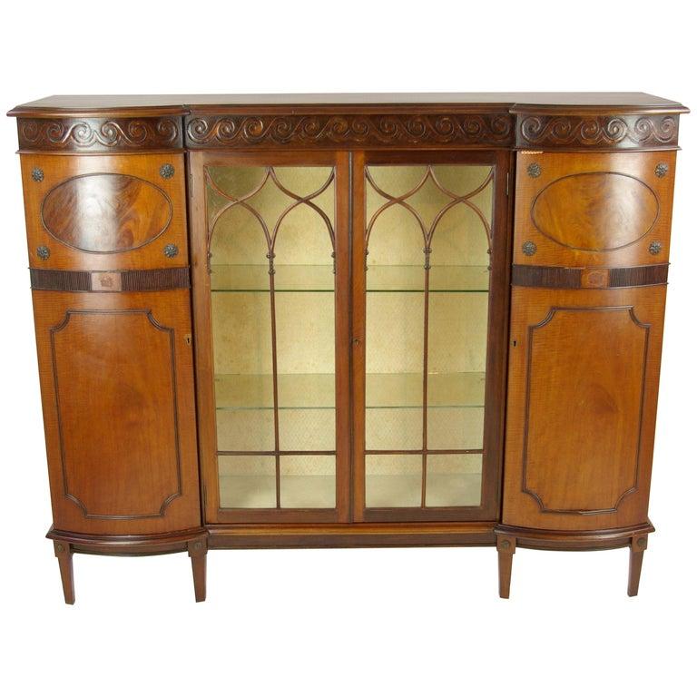 Antique Curio Cabinet China Cabinet Four Door Cabinet Walnut