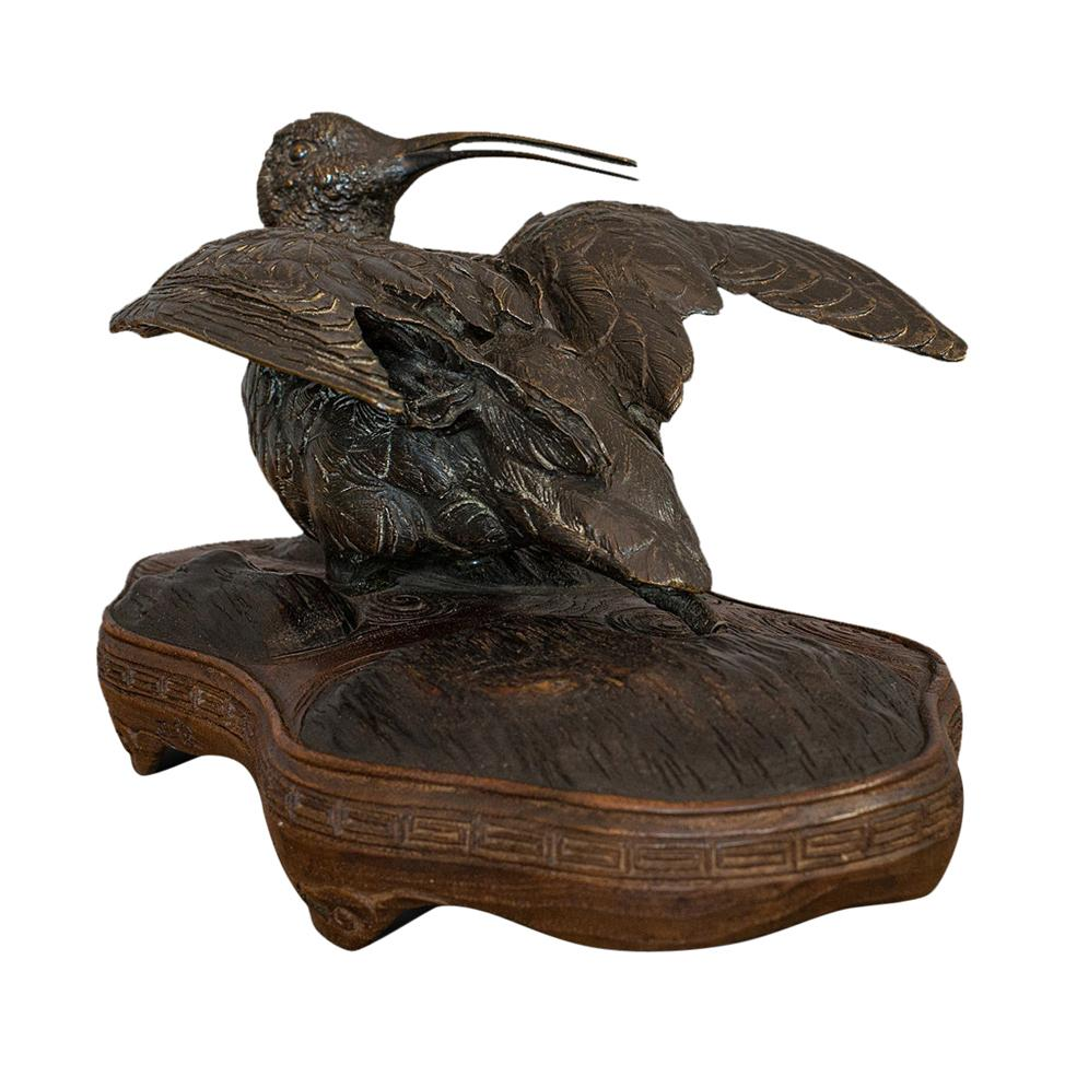 Antique, Curlew, Oriental, Bronze, Mahogany, Decorative, Small Bird, circa 1900