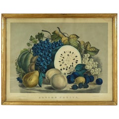 Antique Currier & Ives Still Life Lithograph in Gilt Frame, Autumn Fruits